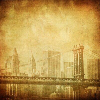 Plakat grunge obraz Nowego Jorku