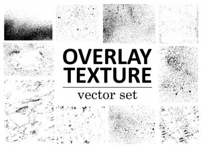 Plakat Grunge overlays vector. Different paint textures with splay effect and drop ink splashes. Dirty grainy stamp and scratches and damage marks. Urban grunge overlay. Vector illustration