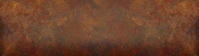 Plakat Grunge rusty orange brown metal corten steel stone background texture banner panorama