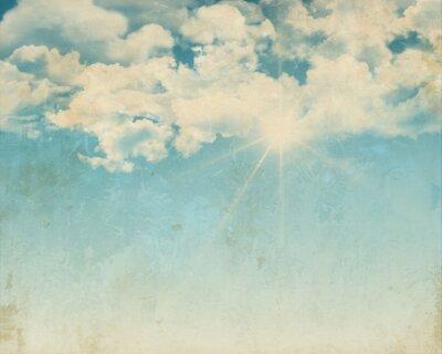 Plakat Grunge tła z błękitne niebo słoneczny