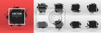 Plakat Grunge tła zestawu. Pędzel farby czarnej farby nad ramką kwadratową. Ilustracji wektorowych