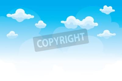 Plakat Grupa chmury na niebieskim niebie, tło kreskówka chmurnieje, wektor