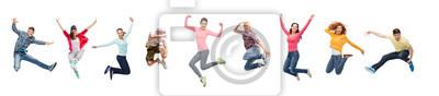 Plakat grupa ludzi lub nastolatków skaczących