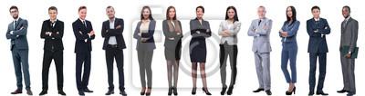 Plakat grupa ludzi sukcesu w biznesie na białym tle