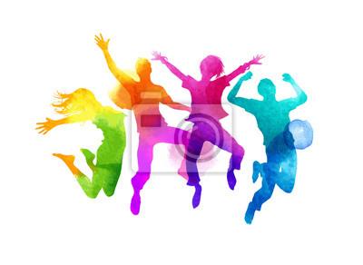 Plakat Grupa przyjaciół skaczących wyrażające szczęście. Akwarela ilustracji wektorowych.