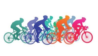 Plakat Grupa rowerzystów w wyścigu rowerów