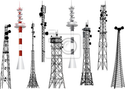 Plakat Grupa z dziewięciu anteny wieże na białym tle