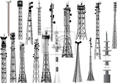 Plakat grupa z osiemnastoma wieżami antenowymi na białym tle