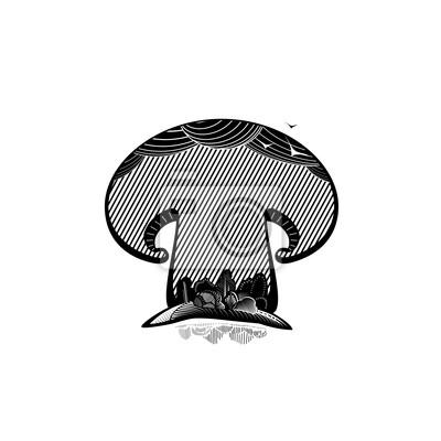Grzyb, Ilustracja stylu grawerowanie
