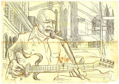 Plakat guitar player (powiększenie rysunek odręczny - oryginalna)