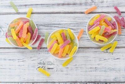 Plakat Gummi Cukierki (słodko-kwaśny) selektywne focus