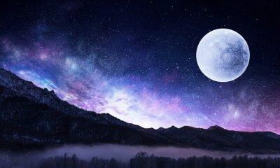 Plakat Gwiaździste niebo i księżyc. Różne środki przekazu