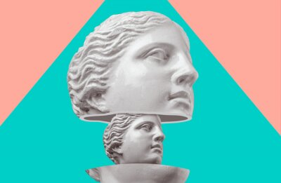 Plakat Gypsum head antique sculpture on a colorful retro vaporwave background. Contemporary art collage.