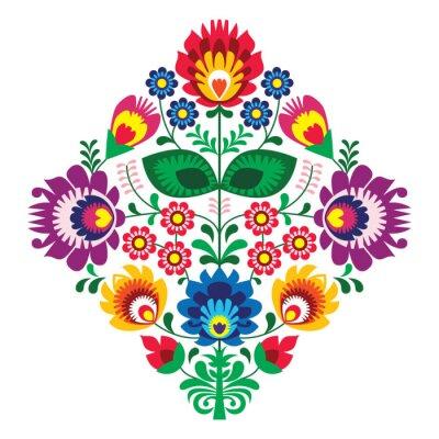 Plakat Haft ludowy z kwiatami - tradycyjny polski wzór