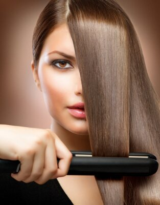 Plakat Hairstyling.Hairdressing.Hair prostowania włosów Irons.Straight