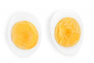 Plakat half boiled egg isolated on white background. Top view.