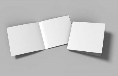 Plakat Half-fold brochure blank white template for mock up and presentation design. 3d illustration.
