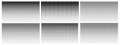 Plakat Halftone gradient. Dotted gradient, smooth dots spraying and halftones dot background seamless horizontal geometric pattern vector template set. Abstract dot gradient halftone pattern illustration