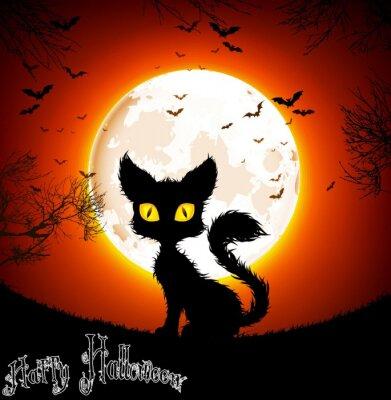 Plakat Halloween tle kot