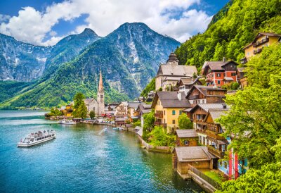 Plakat Hallstatt Mountain Village, Salzkammergut, Austria