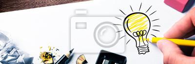 Plakat Hand Drawing Light Bulb On Paper - Bright Idea Concept