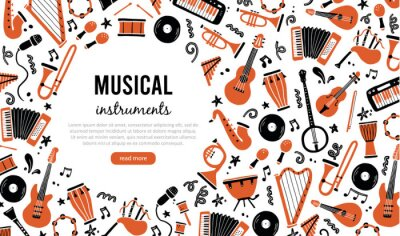 Plakat Hand drawn banners template with musical instrument, guitar, saxophone. Doodle sketch style. Vector illustration for music shop, musical instrument banner, music festival flyer, brochure background