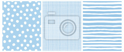 Plakat Hand Drawn Childish Style Vector Pattern Set. White Horizontal  Stripes on a Blue Background. White Grid On a Blue Layout. White Polka Dots on a Blue.  Cute Simple Geometric Design.