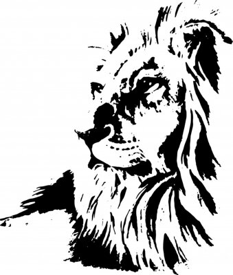 Plakat  Hand drawn lion. Vector isolated on a transparent background