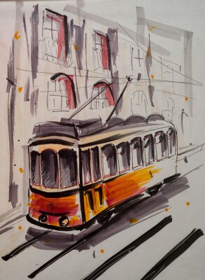 Plakat Hand drawn marker sketch of a tram on the street.