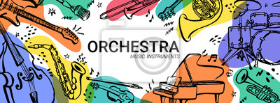 Plakat Hand drawn music instruments. Orcestra. Horizontal banner or cover for social media. Ink style vector illustration with watercolor stains on white background.