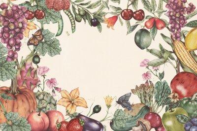 Plakat Hand drawn tropical fruit frame illustration