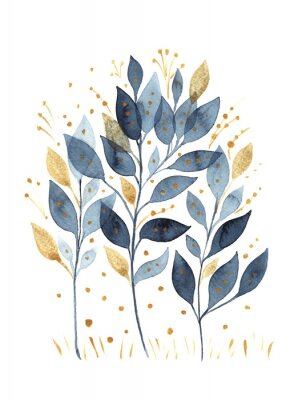 Plakat Hand-drawn watercolor drawing of branches with blue and gold leaves isolated on a white background. For greetings, postcards, printing on t-shirts, textiles, wedding decor, packaging.