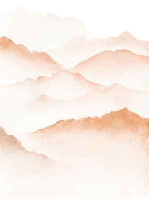 Plakat Hand drawn watercolor painting of blue foggy mountains