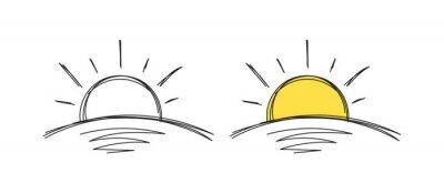 Plakat hand drawn yellow sun. doodle sun symbol