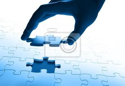 Plakat hand łączenia puzzle