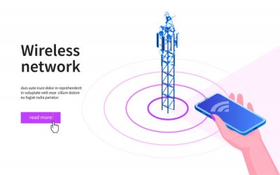 Plakat Hand with mobile phone pointing towards the antenna. 5G network wireless technology. Broadcasting tower for high speed internet communication. Isometric vector illustration