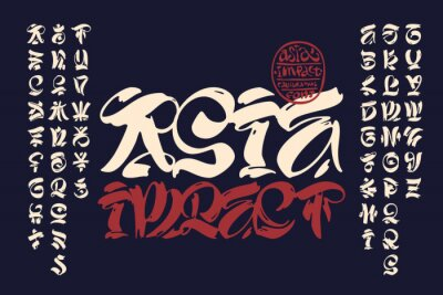 Plakat Handcrafted calligraphic brush script ispired by asian traditional culture.