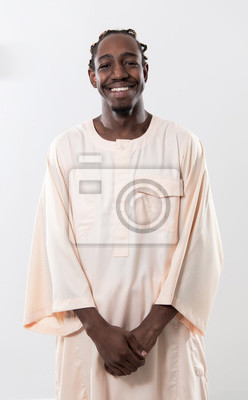Plakat handsome african black man in traditional  clothes
