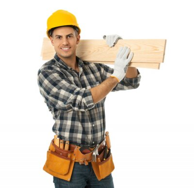 Plakat Handsome carpenter with wooden planks isolated on white