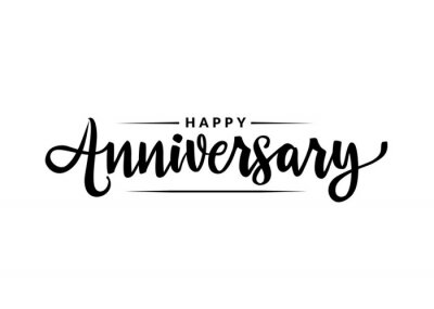 Plakat Happy Anniversary calligraphy hand lettering isolated on white. Birthday or wedding anniversary celebration poster