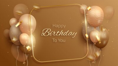 Plakat Happy birthday card with luxury balloons and ribbon. 3d realistic style. vector illustration for design.