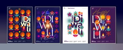 Plakat Happy Diwali. Deepavali or Dipavali. Indian festival of lights. Set of vector illustrations and lettering. Holiday background for branding, card, banner, cover, flyer or poster.