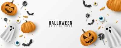 Plakat Happy Halloween background design. 3d emotional, cartoon, smiling pumpkins with eyes, sweets, lollipops, flying bats, ghost on white background. Party invitation template