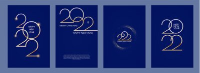 Plakat Happy new 2022 year Elegant gold text with light flyer set. Minimalistic text template.