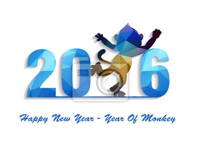 Happy New Year 2016 greeting card stylized triangle polygonal model.  Year of monkey.