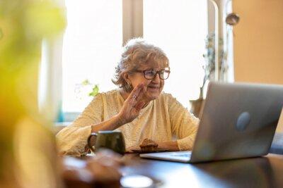 Plakat Happy senior woman using laptop at home