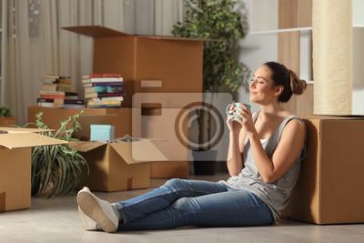 Plakat Happy tenant moving home resting breathing fresh air