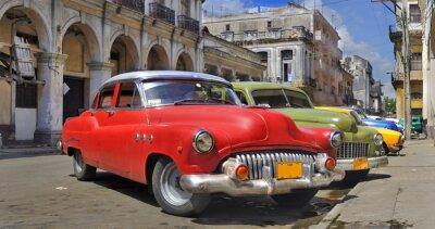 Plakat Havana ulicy z kolorowych starych samochodów wraw