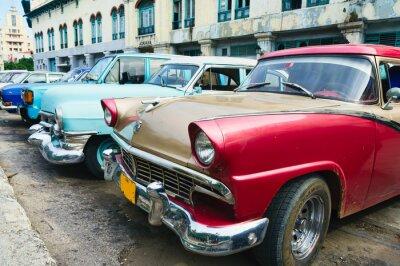 Plakat Hawana, Kuba. Ulica sceny ze starych samochodów.