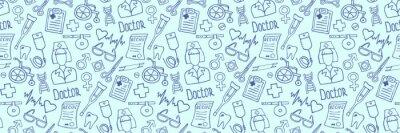 Plakat Header for medicine, science or pharmacy design. Seamless medical hand drawn background. Simple doodle health care pattern. Vector illustration.